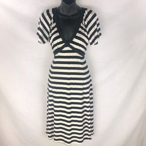 BCBG MaxAzria Black and White Striped Dress Large